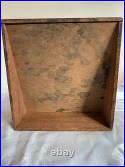 Wonderful Antique Oak Wood & Glass Hinged Slanted Display Case