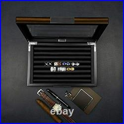 Wood Cufflink Box Glass Window Display Case Ring Organizer For Men Hold 36-46