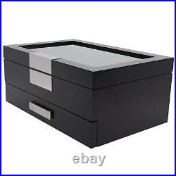 Wood Storage Box Organizer Case for jewelry watch with Valet Drawer & glass top