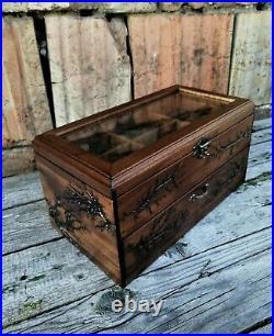 Wood Watch Box 12 Compartments Display Top Glass Case Lichtenberg Figure