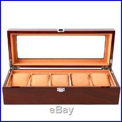 Wood Watch Box 5 Slot Storage Case Jewelry Watch Organizer Glass Display Box