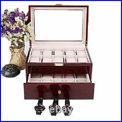 Wood Watch Box Glass Top Mens Watch Display Case Watch Box Organizer 20 Slots