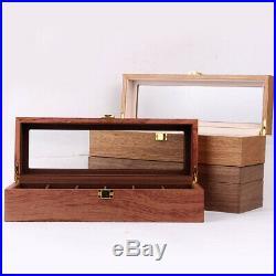Wood Watch Box Organizer Glass Display Top 6 Grids Jewelry Display Case Tray